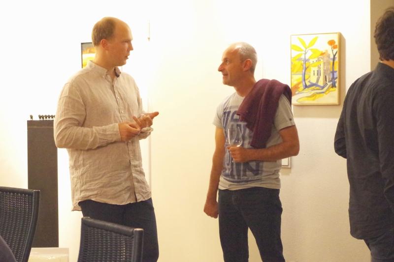 20.09.2016 - Abendessen bei Baurs: Gunars Upatnieks und Stefan Schilli beim Fachsimpeln. (Foto: Christine Tröger)