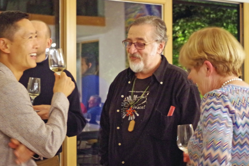20.09.2016 - Abendessen bei Baurs: Trey Lee, Vladimir Mendelssohn und Ulrike Baur. (Foto: Christine Tröger)