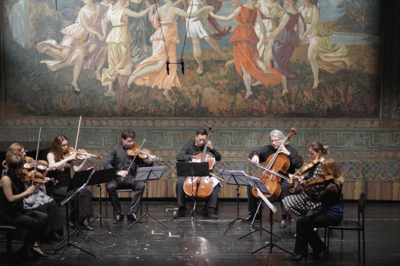 25.09.2016 - Konzert: ...Eriikka Maalismaa (Violine 1), Natalia Prishepenko (Violine 2), Nina Karmon (Violine 3), Amaury Coeytaux (Violine 4), Rachel Roberts (Viola 1), Béatrice Muthelet (Viola 2), Peter Bruns (Violoncello 1), Trey Lee (Violoncello 2). (Foto: Christine Tröger)