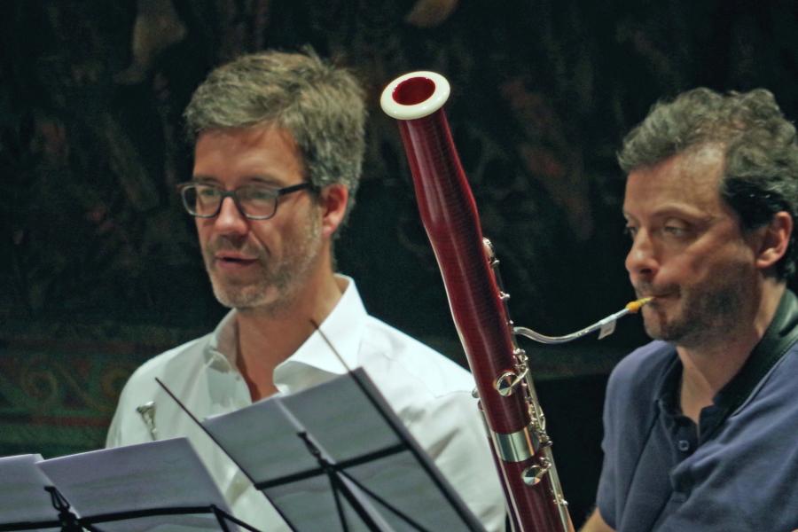 Proben 26.09.2017: Olivier Darbellay (Horn) und Diego Chenna (Fagott) (Foto: Christine Tröger)