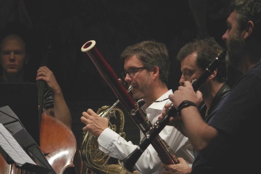 Proben 26.09.2017: Gunars Upatnieks (Kontrabass),  Olivier Darbellay (Horn), Diego Chenna (Fagott) und Matthew Hunt (Klarinette) (Foto: Christine Tröger) (Foto: Christine Tröger)