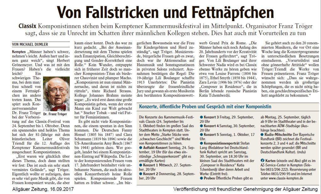 Allgäuer Zeitung, 16.09.2017