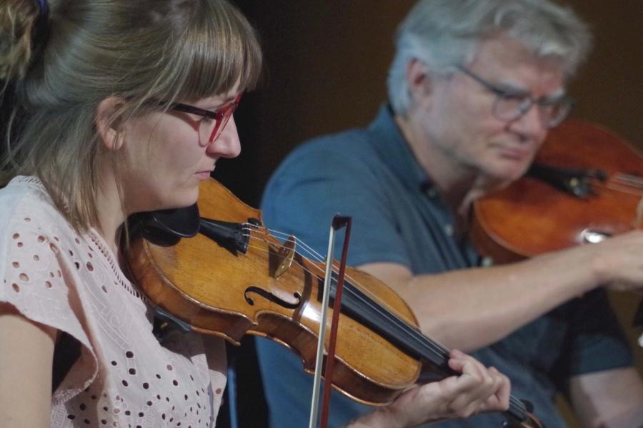 Samstag/Sonntag 23./24.09.2017 - Proben Eriikka Maalismaa (Violine) und Hariolf Schlichtig (Viola) (Foto: Christine Tröger)