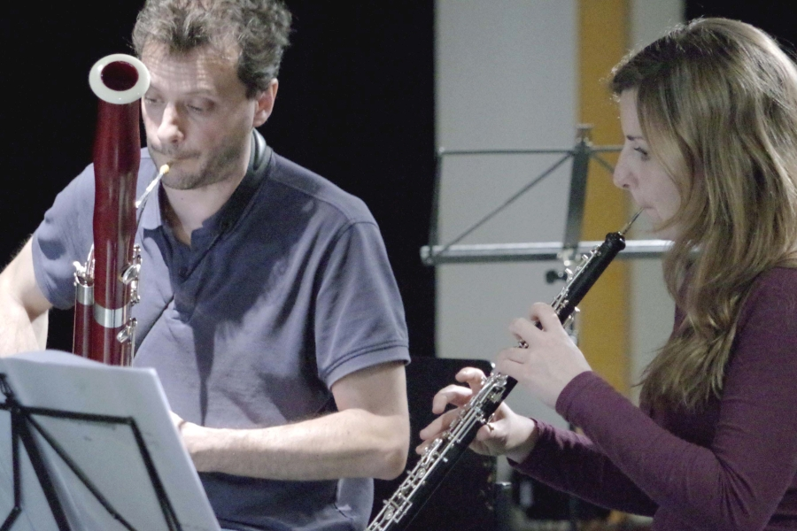 Samstag/Sonntag 23./24.09.2017 - Proben: Diego Chenna (Fagott) und Céline Moinet (Oboe) (Foto: Christine Tröger)