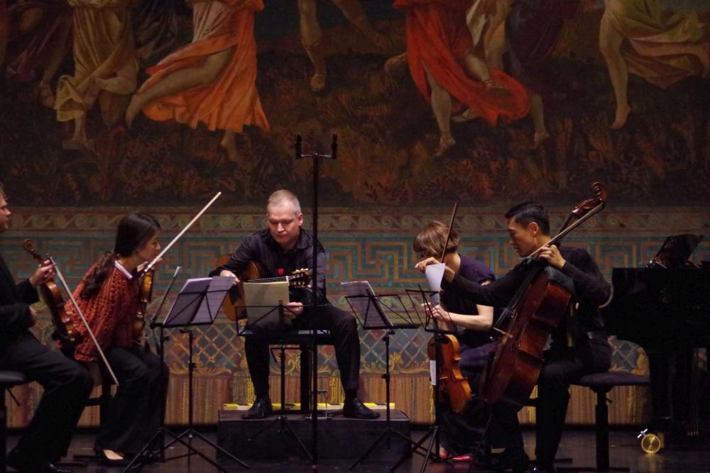 23.9.2018 - Konzert: Ismo Eskelinen (Gitarre), Corey Cerovsek (Violine 1), Christel Lee (Violine 2), Lilli Maijala (Viola) und Trey Lee (Violoncello) ... (Foto: Christine Tröger)