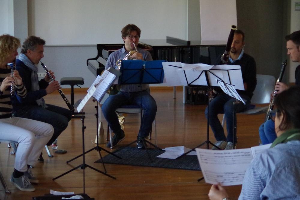 25.9.2018 – Proben: ... »Parties diverses« für Bläserquintett aus dem Jahr 2014 ... (Foto: Christine Tröger)