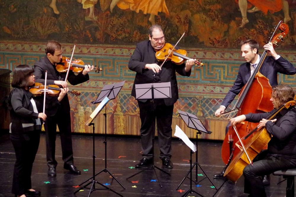 26.9.2018 – Konzert: Yura Lee (Violine 1), Jack Liebeck (Violine 2), Joaquín Riquelme García (Viola), Justus Grimm), Violoncello), Olivier Thiery (Kontrabass) ... (Foto: Christine Tröger)