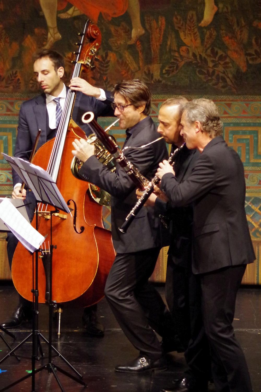 26.9.2018 – Konzert: ... die Bläsergruppe mit Bass ... (Foto: Christine Tröger)
