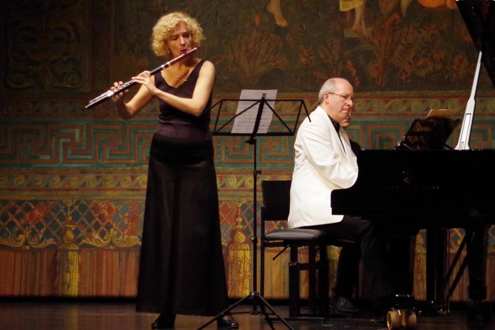 26.9.2018 – Konzert:  »Albumblatt« BV 272 von Ferruccio Busoni (1866-1924), interpretiert von Anna Garzuly-Wahlgren (Flöte) und Oliver Triendl (Klavier). (Foto: Christine Tröger)