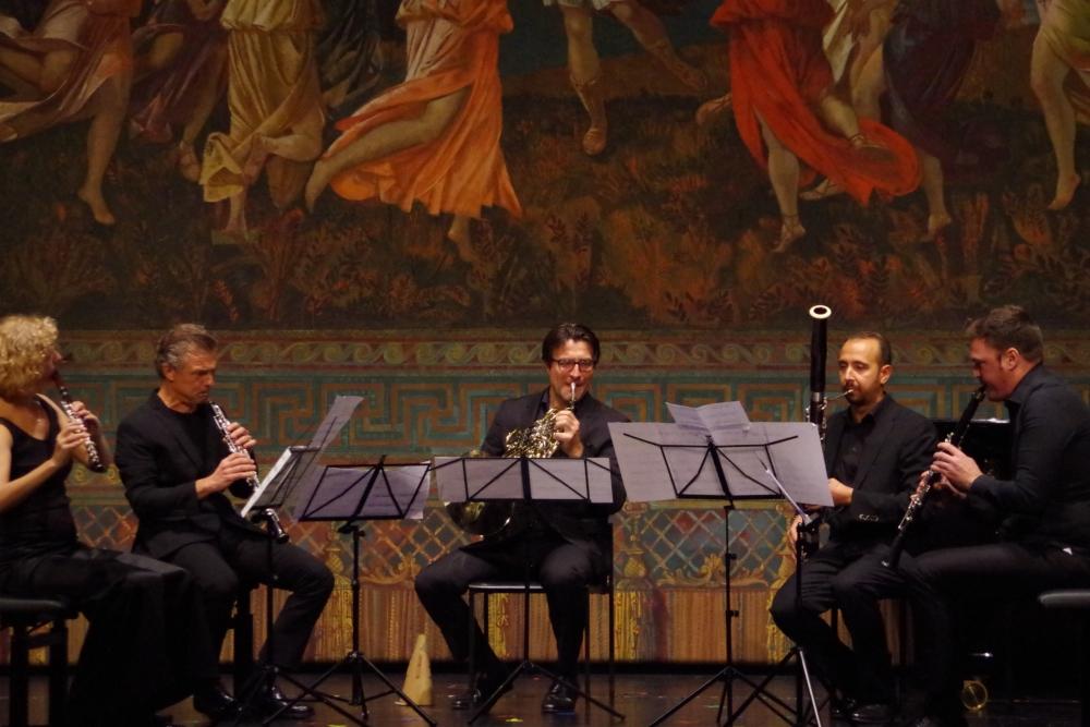 26.9.2018 – Konzert: Anna Garzuly-Wahlgren (Flöte), Olivier Doise (Oboe), Hervé Joulain (Horn), Andrea Zucco  (Fagott) und Isaac Rodríguez (Klarinette) ... (Foto: Christine Tröger)