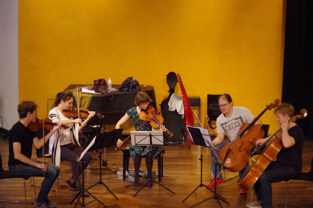 26.9.2018 – Proben: Corey Cerovsek (Violine 1), Nina Karmon (Violine 2), Lilli Maijala (Viola), Giovanni Gnocchi (Violoncello 2) une Mischa Meyer (Violoncello 1) ... (Foto: Christine Tröger)
