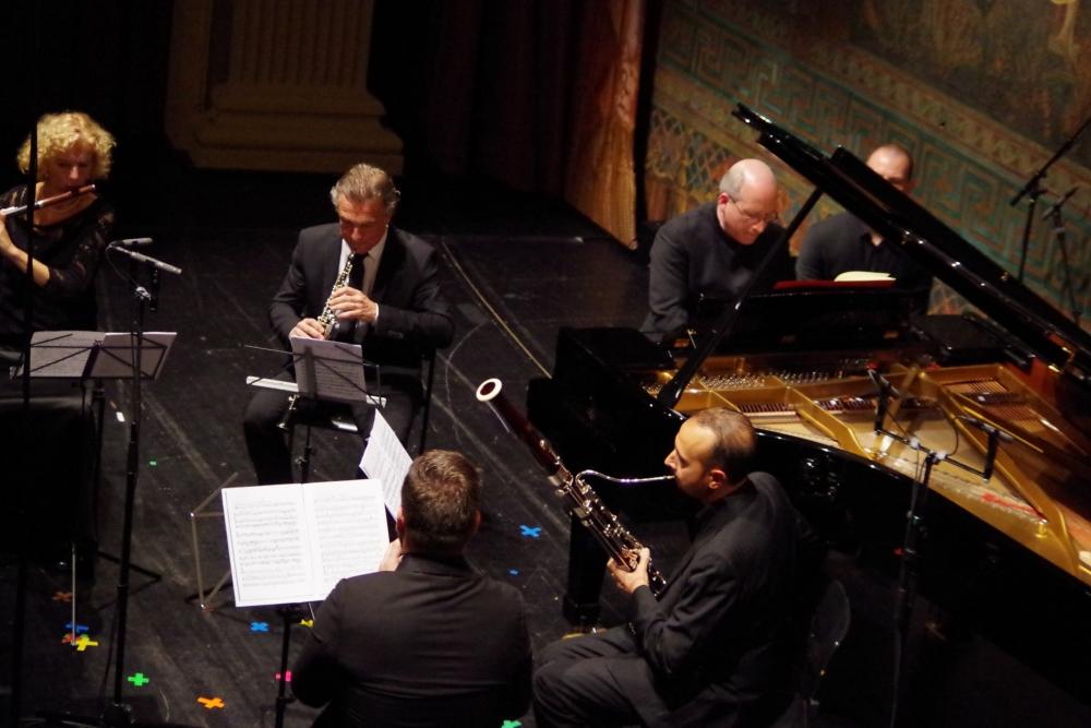27.9.2018 – Konzert: ... geboten von Anna Garzuly-Wahlgren (Flöte), Olivier Doise (Oboe), Oliver Triendl (Klavier), Andrea Zucco (Fagott) und Isaac Rodríguez (Klarinette) ... (Foto: Christine Tröger)