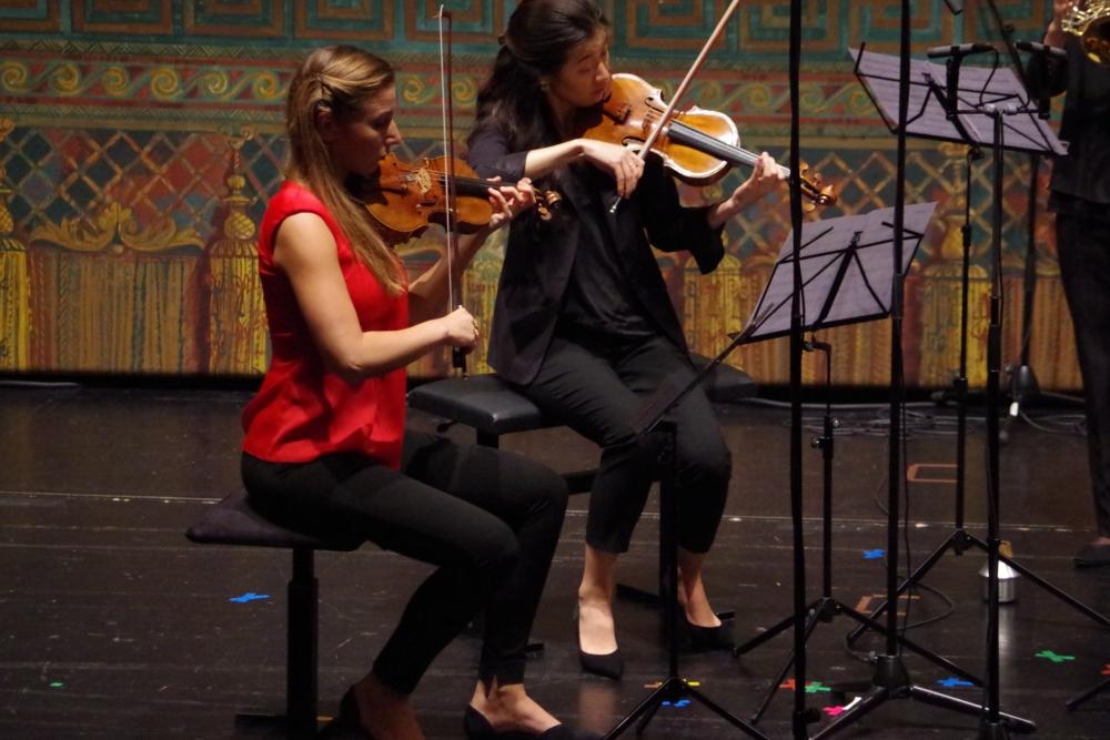 27.9.2018 – Konzert: ... Rosanne Philippens (Violine 1) und Christel Lee (Violine 2) ... (Foto: Christine Tröger)