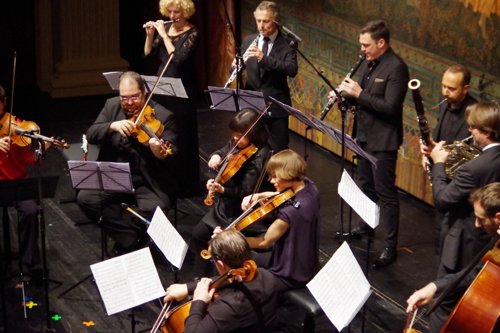 27.9.2018 – Konzert: ... Anna Garzuly-Wahlgren (Flöte), Olivier Doise (Oboe), Isaac Rodríguez (Klarinette), Andrea Zucco (Fagott), Hervé Joulain (Horn), Olivier Thiery (Kontrabass) ... (Foto: Christine Tröger)