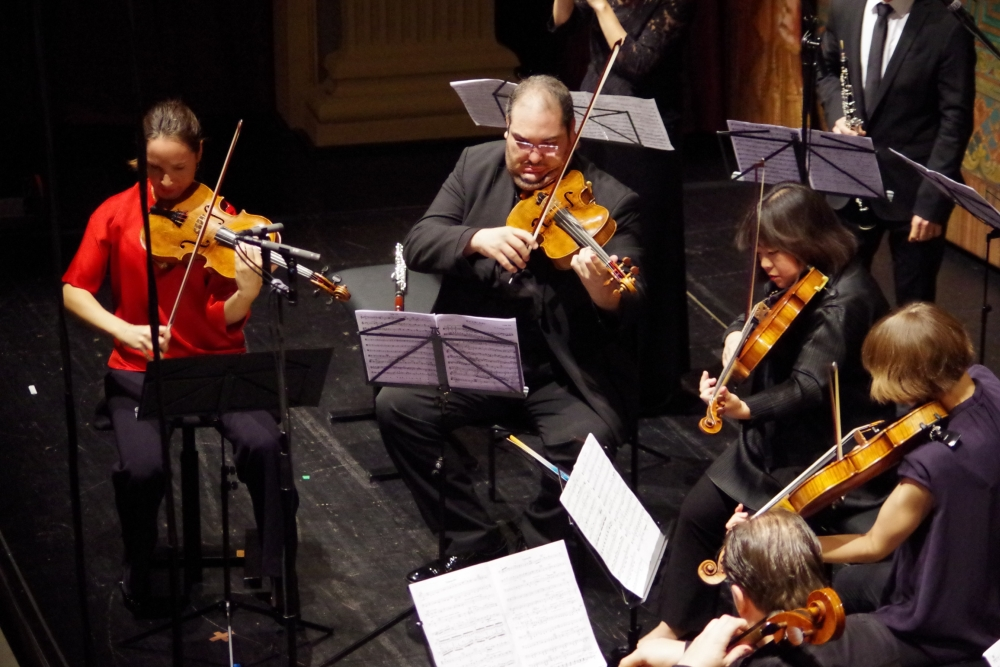 27.9.2018 – Konzert: ... Lise Berthaud (Viola 1), Joaquín Riquelme García (Viola 2), Yura Lee (Viola 3), Lilli Maijala (Viola 4) und Giovanni Gnocchi (Violoncello) ... (Foto: Christine Tröger)