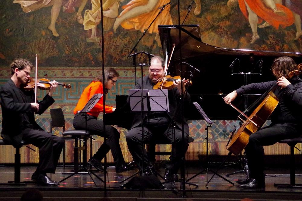 28.9.2018 – Konzert: Corey Cerovsek (Violine), Virginia Guastella (Klavier), Joaquín Riquelme García (Viola) und Justus Grimm (Violoncello) ... (Foto: Christine Tröger)