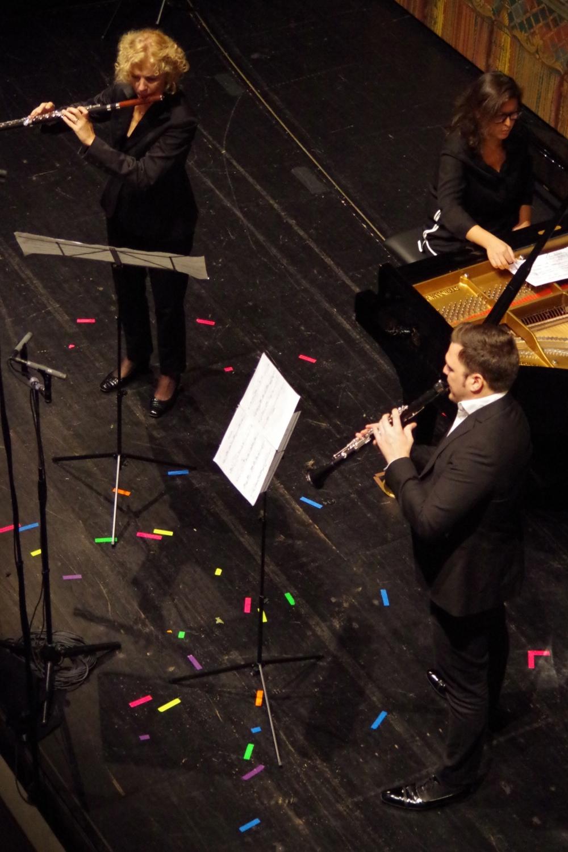 30.9.2018 – Konzert: ... Anna Garzuly-Wahlgren (Flöte), die Komponistin Virginia Guastella selbst am Klavier und Isaac Rodríguez (Klarinette) ... (Foto: Christine Tröger)