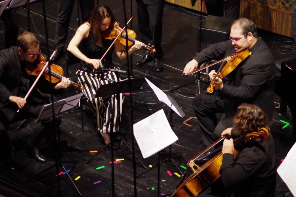 30.9.2018 – Konzert: ... Jack Liebeck (Violine 1), Nina Karmon (Violine 2), Joaquín Riquelme García (Viola) und Justus Grimm (Violoncello) die Streichergruppe ... (Foto: Christine Tröger)
